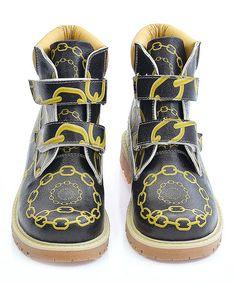 Black & Yellow Chain Dual-Closure Combat Boots - Kids #zulily #zulilyfinds