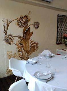 Mural para comedor principal, Restaurante Visconti en Gandia. Inma Gregori 2015