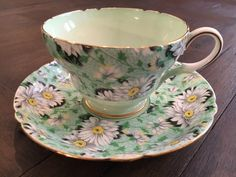 A personal favorite from my Etsy shop https://www.etsy.com/listing/480384337/vintage-shelley-tea-cup-saucer-set-green