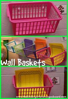 Classroom organization: stick Command hooks on your wall and attach baskets to them. Great for stations!