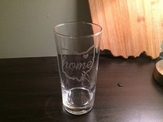 """Cleveland Themed Glass - Heart over Cleveland and Home in Cursive - Cleveland - Buckeyes - Cleveland Gift - Ohio - Northeast Ohio - Barware. Etched Tall Water Glass - Heart over Cleveland and """"Home"""" in cursive - Cleveland - Northeast Ohio Barware."""