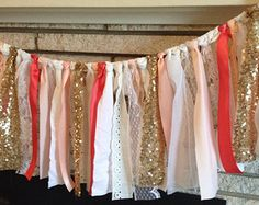 sequin coral beige lace curtain | Coral, Peach & Gold Sparkle Sequin fabric garland banner, - Wedding ...