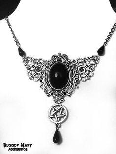 Victorian Choker pentagram Witchy Necklace por BloodyMaryAccesorios