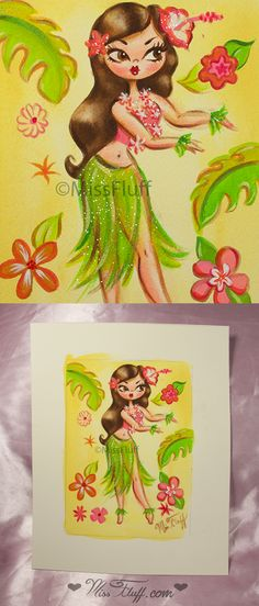 A vintage inspired hula girl with a sparkly outfit and large flower in her hair. Original Art by Claudette Barjoud, a.k.a Miss Fluff. www.missfluff.com #hulagirls