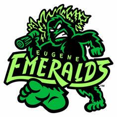 Eugene Emeralds 26 Of The Most Ridiculous Minor League Baseball Logos You'll Ever See Minor League Baseball, Baseball Players, Baseball Teams, Baseball Stuff, Baseball Hat, Baseball Field, Lacrosse, Milb Teams, Sports Team Logos