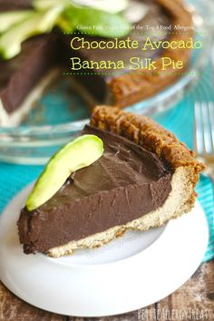 Dairy Free Gluten free Chocolate Avocado Silk pie! Rich and creamy minus all the calories. Chocolate and avocado are great together!