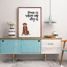 Home Is Where My Dog Is Chocolate Labrador Print by Izzy & Pop, the perfect gift for Explore more unique gifts in our curated marketplace. Watercolor Print, Dog Lovers, Labrador, Colours, Chocolate, Dogs, Prints, Furniture, Design