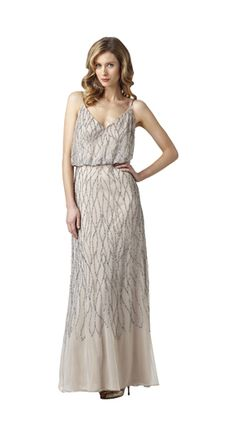 Style#: 091860630          Colors: Nude, Silver          Description: Long Halter Blouson Dress                    Sizes: M (2-16)