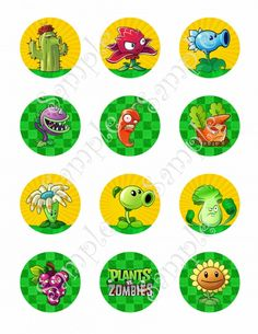 Plants vs Zombies Cupcake Toppers, Plants vs Zombies Birthday partyC