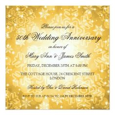 Winter Wedding Anniversary Festive Bokeh Gold Card - wedding invitations diy cyo special idea personalize card