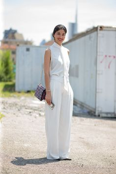 All-white outfits are trending for summer 2015. Click through for more summer outfit inspiration.
