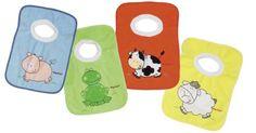 Playshoes 507142 - Pack de 4 baberos con imágenes divertidas de animales, 27 x 27 cm, multicolores: Amazon.es: Bebé