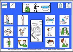 """""""Tablero de comunicación: Asear (género masculino)"""". Recopilación de  diferentes tableros de comunicación de 12 casillas, organizados por necesidades básicas y centros de interés.  Los tableros pueden imprimirse tal como aparecen en los documentos o bien se puede modificar el contenido, la forma, el color, etc., para adaptarlos a las características individuales de cada usuario. Pueden utilizarse también para trabajar distintos repertorios de vocabulario agrupado por temas o categorías."""