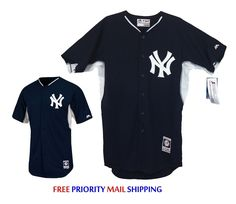 $34.99 Free EXP Ship New York Yankees NWT Majestic Cool Base Batting Practice Jersey Sewn-on Logo #Majestic #NYYankees #Yankees