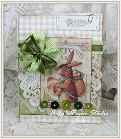 Vintage Rabbit Easter Greeting Card Handmade by PollysPaper, $7.50