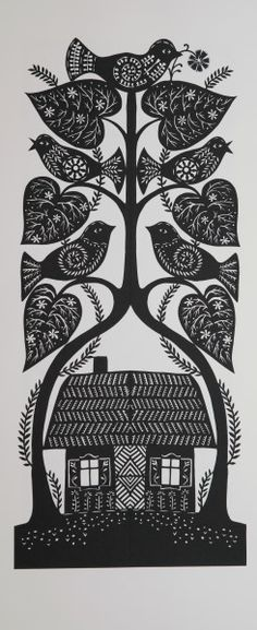 .Heart leaves and love birds!  This is a Polish style papercut!  These have the folded paper, yet, normally are in colors and layers of paper.