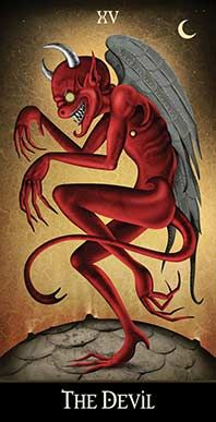 March 17 Tarot Card: The Devil (Deviant Moon deck) Your greatest limitations are the ones you put on yourself. Freeing your mind of fear and doubt will release you from this bind