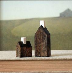 miniature houses solid wood walnut stained minimalist wood town set. $35.00, via Etsy.