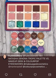 Dupe for Natasha Denova Tropic Palette Makeup Geek, Makeup Addict, Eye Makeup, Makeup Hacks, Makeup Ideas, Best Drugstore Dupes, Colourpop Palette, Channel Makeup, Z Palette