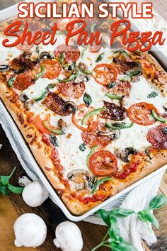 Sheet Pan Sicilian Pizza Recipe - Sheet Pan Sicilian style pizza recipe is homemade in a sheet pan to help feed the whole family! It's delicious made up of homemade dough, cheeses and toppings and it& incredibly easy to make. Sicilian Pizza Recipe, Sicilian Style Pizza, Sicilian Recipes, Sicilian Food, Sheet Pizza, Sheet Pan Pizza Recipe, Recipe Sheets, Pizza Dough, Pizza Pizza