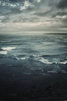 beach, ocean, rain, storm