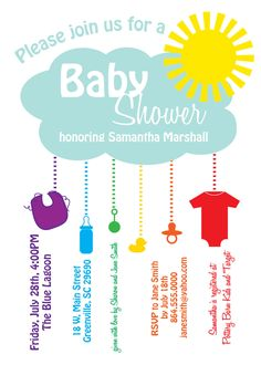 Printable Baby Shower Invitation, Rain Cloud, Sunshine, Rainbow, Gender Neutral, Boy, Girl, DIY Digital File. $12.50, via Etsy.