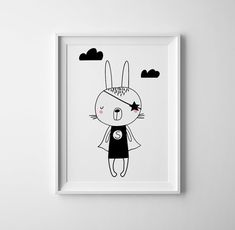 SUPER rabbit super hero art for baby nursery. toddler girl nursery art, scandinavian wall decor, gender neutral nursery decor and wall art.