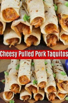 Cheesy Pulled Pork Taquitos are super simple with just 4 ingredients! Enjoy these for dinner or as a party appetizer! #pulledpork #taquitos #appetizer #partyfood