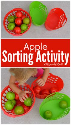 A Fun Apple Sorting Activity for Toddlers – The Resourceful Mama A Fun Apple Sorting Activity for Toddlers Fun, easy, low prep apple sorting activity for toddlers. Fall Activities For Toddlers, Lesson Plans For Toddlers, Apple Activities, Sorting Activities, Autism Activities, Colour Activities, Montessori Activities, Indoor Activities, Summer Activities