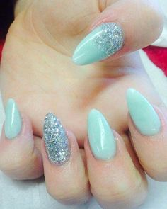 Nail art design. Colours: silver and mint colour