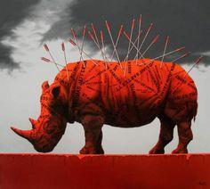 Zheng Hong Xiang è un artista cinese con un'evidente propensione per il colore rosso. Le sue pitture alternano i toni del grigio a un porpora acceso che si nota, colpisce… ed è assoluta… Lion Sculpture, Statue, Red, Painting, Collection, Surrealism, Note, Artist, Painting Art