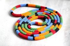 Multi Colored Striped African Style Necklace Maasai Necklace