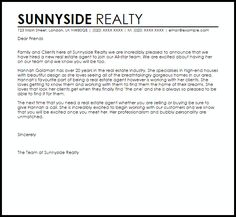 Awesome Letter New Job Announcement Real Estate Agent Thank You Letters Free Word  Excel Pdf Format