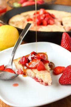 Deep Dish Buttermilk Pancake #recipe #strawberry
