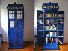 Creative book cases.  I love this one, especially because it would travel well for moving and aren't all books bigger on the inside.