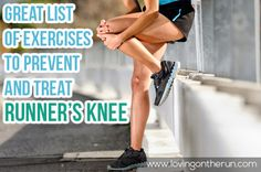 Exercises and stretches to help prevent and treat runners knee. These are helpful to have on hand for any runner! Half Marathon Training, Marathon Running, Running Workouts, Fun Workouts, Knee Injury Treatment, Knee Exercises, Stretches, Disney Half Marathon, Runners Knee