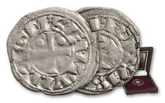 10th-15th Century Silver Obol Joan of Arc | Struck for 500 years by feudal lords, the coins feature a prominent equal-armed cross and inscriptions of the nobleman's name in crude medieval script.
