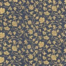 papier népalais fantaisie, fond ardoise, impression de motifs floraux dorés
