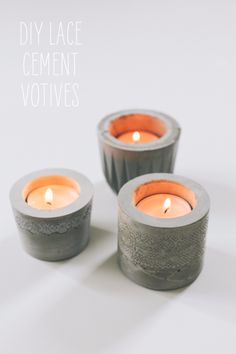 DIY Projects Made With Concrete - DIY Lace Cement Votives - Quick and Easy DIY Concrete Crafts - Cheap and creative countertops and ideas for floors, patio and porch decor, tables, planters, vases, frames, jewelry holder, home decor and DIY gifts. Modern, Rustic and Farmhouse Decor Ideas http://diyjoy.com/diy-projects-concrete