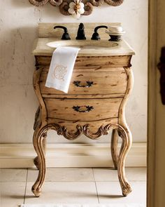 Ivory-Rubbed Chest w/Sink by Ambella at Horchow.