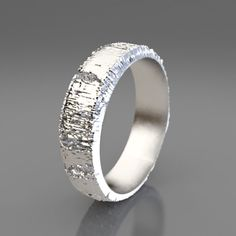 Redwood Tree Bark Wedding Ring In Recycled Silver Mens Wedding Band