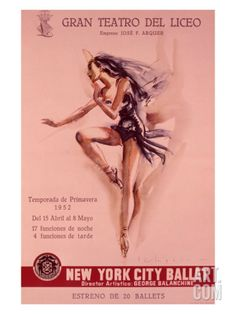 1956 New York City Ballet Poster Giclee Print at Art.com