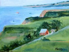 Irish Beach Barn, barns, coastal, landscape, seascape, red barn, seaside, blue water, green, highway 1, hwy one, highway one, california, oil, painting, original, art