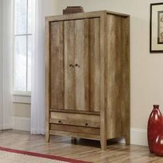 Chappel 2 Door Wardrobe & Reviews | Birch Lane Sauder, Oak Finish, Decor, Stylish Furniture, Wardrobe Armoire, Furniture, Home, Adjustable Shelving, Residential Furniture