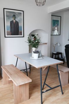 Dining set – A sheet of ply primed and then painted grey on top with metal IKEA trestle legs. The benches were simply constructed using off cuts from a builders site.