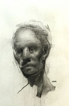 Artist Daniel Ochoa drawing 8.24.16, 7x5in, charcoal on paper, 2016