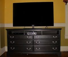 I'm going to re-purpose our vintage dresser into a TV stand for our large flat screen.