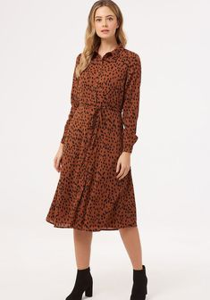 Brand: Sugarhill Brighton Style Code: Colour: TBR Sleeves: Long Sleeves Features: Animal spot print, button up front, fit and flare shape, f Midi Shirt Dress, Brighton, Fit And Flare, Cool Style, Cold Shoulder Dress, High Neck Dress, Casual, Womens Fashion, Model