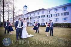 Kelly and Kyle with their bridal party at the Madison Hotel.  #madisonhotel #madison #bridalparty #wedding #mrandmrs #justmarried #weddingday #happycouple #aziccardi #anthonyziccardistudios