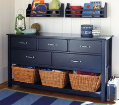 dyi - removed the bottom drawer and insert posterboard covered with matching colored paper. Camp Extra-Wide Dresser | Pottery Barn Kids